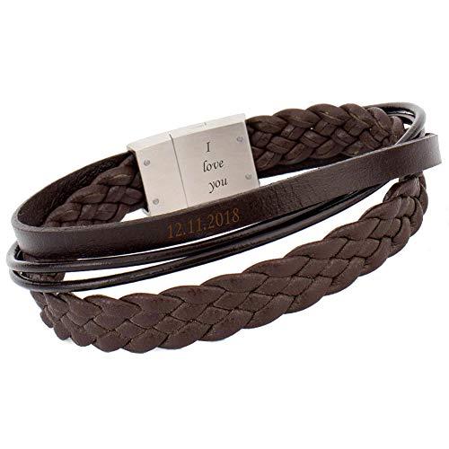 COWstyle® Lederarmband für Herren mit Gravur aus Leder in braun mit Magnetverschluss personalisierbar mit Namen oder Datum | Geschenkidee für Männer | der Marke