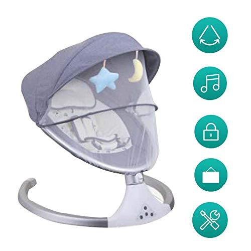 FCDWHJ Zusammenklappbare und tragbare Babyschaukel mit 5 Schaukelgeschwindigkeiten, per App bedienbar, mit Musik Lautstärkeregulierung und abnehmbarem Spielzeugbügel,Grau