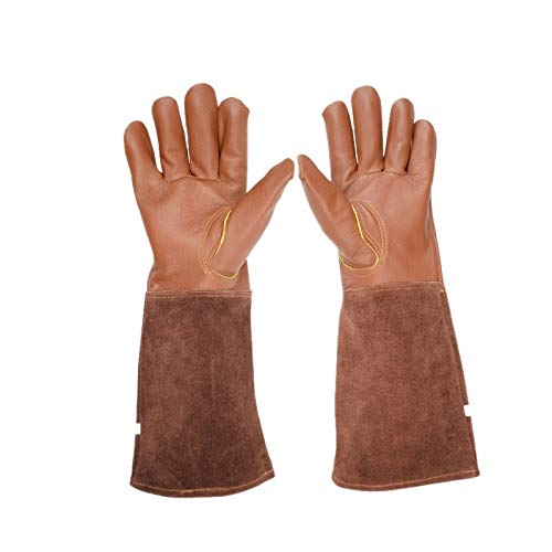 MOBFIDOFG Safety Work Gloves Rose Pruning Gloves for Men and Women Extra Long Breathable Leather ThornProof Gardening Gauntlet Gloves