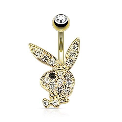 Playboy Paula & Fritz® Bauchnabelpiercing Hase mit 14 Karat vergoldet aus Chir.
