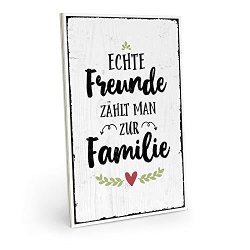ARTFAVES Holzschild mit Spruch - ECHTE Freunde ZÄHLT Man ZUR Familie - Vintage Shabby Deko-Wandbild/Türschild
