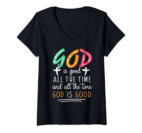 Mujer Dios es bueno todo el tiempo y todo el tiempo Dios es buen regalo Camiseta Cuello V