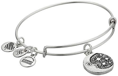 Alex and Ani Women's Moon Tarot Charm Bangle Bracelet, Rafaelian Silver
