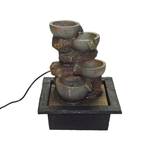 DRULINE Zimmerbrunnen France Brunnen mit Wasserfall und LED Beleuchtung für Drinnen und Draußen Polyresin in Stein Optik Wasserspiel mit Pumpe | 18430 | L x B x H 22 x 19 x 27 cm | Grau Braun