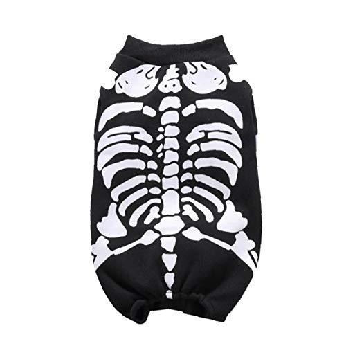 Esqueleto del perro casero del partido del mono del gato cosplay de vestir gatito del perrito de ropa (Negro, L)