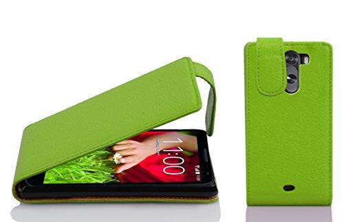 Cadorabo Hülle für LG G2 Mini in Apfel GRÜN - Handyhülle im Flip Design aus Strukturiertem Kunstleder - Hülle Cover Schutzhülle Etui Tasche Book Klapp Style