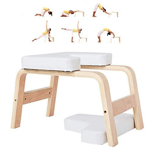 KIMCC Yoga Kopfstandhocker,Head-Stand Für Yoga-Starter-Sets,Yoga Stuhl Decompression in Neck Mit Holz Und PU-Pads,Yogaübungen-Vor Allem Für Den Kopfstand