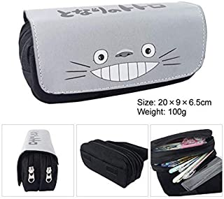 EOLIURR 1 Pcs Newest Grey Totoro Large Big Capacity Canvas Double Zipper Anime Cartoon Animal Pen Bag Pencil Case Game Cosmetic Makeup Pouch Stationery Office School Supplies Holder Set