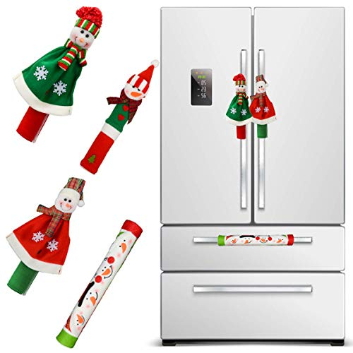 Juego de 4 fundas para manija de refrigerador, diseño de muñeco de nieve en 3D, para cocina, decoración de Navidad