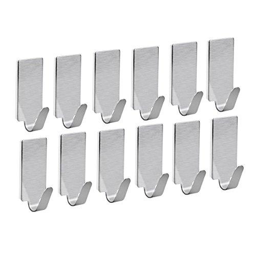 NUOLUX Adesivo in acciaio inox asciugamano ganci asciugamano rack ganci a parete per cucina bagno 12pcs