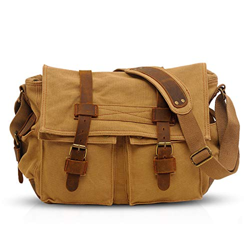 FANDARE Unisex Messenger Bag Canvas Satchel College Bag Outdoor Travel Bookbag Commute Work Shoulder Bag 14 inch Laptop Crossbody Bag for Men/Women Khaki