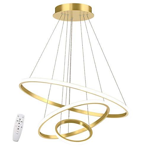 LED Pendelleuchte Esstisch Dimmbar ,Golden Hängelampe mit Fernbedienung Farbwechsel ,Schlafzimmer Leuchter moderne Kronleuchter Lampe Höhenverstellbar Esszimmerlampe Wohnzimmerlampe