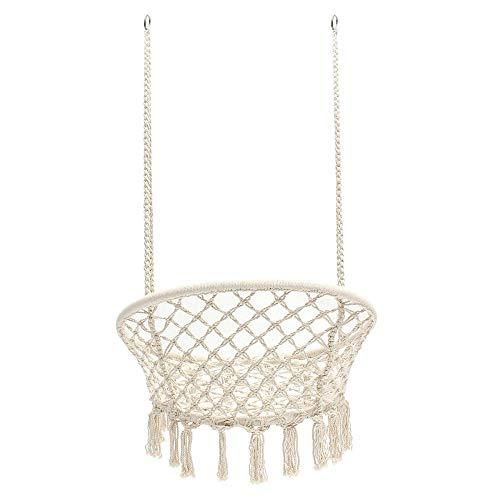 BESTSOON - Sedia da appendere semicircolare, 120 kg, in corda di cotone, da appendere, per sedie e poltrone, decorazione della stanza, 120 kg