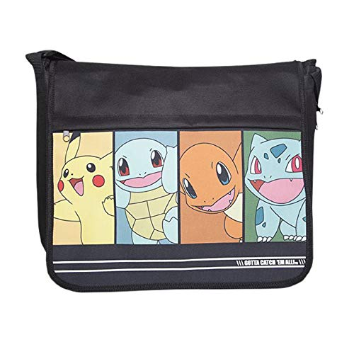 Bioworld POKEMON Starting Characters Messenger Bag Bolso bandolera, 49 cm, 10 liters, Negro (Black)