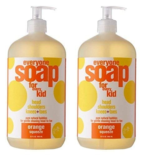 EveryOne For Kids 3-In-1 Orange Squeeze Soap (Pack of 2) With Orange Peel Oil, Anthemis Nobilis, Castor Seed Oil, Camphor Leaf Oil, Bitter Orange Oil, Aloe, Chamomile and Calendula, 32 fl. oz. each -  653801353457