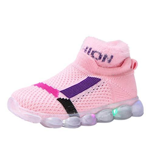 HDUFGJ Sneaker Schuhe Kinder Fliegendes Weben Warm Laufschuhe Mädchen Jungen Led Licht Leuchtende Hohe Hilfe Socken Schuhe Beleuchtete Schuhe26 EU(Rosa)