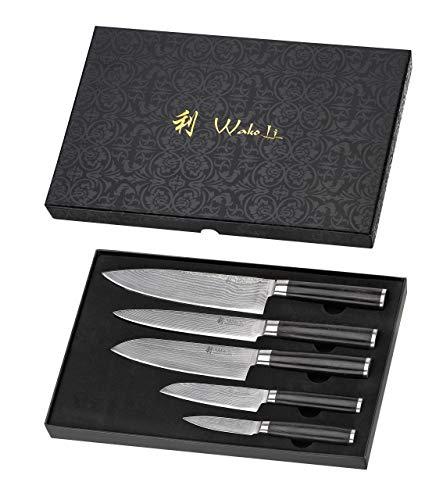Wakoli Pakka Damastmesser Profi 5er Messerset, VG-10, 33,5 cm bis 19 cm, sehr hochwertige Damast Messer, Japanische Damaszener Küchenmesser mit Pakkaholz Griffen