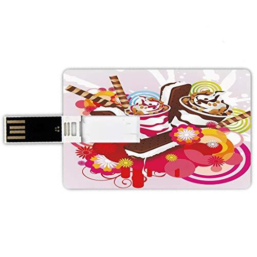 USB-Sticks 64GB Kreditkartenform Eis Dekor Memory Stick-Bankkartenstil Gemischte leckere Desserts mit exotischen Blumen und Aromen Sommer Tropisches Thema Dekorativ,Mehrfarben Wasserdichte stift daume