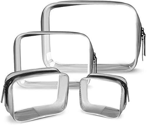 Ponangaga 4 Piezas Bolsas Portátil de Maquillaje Transparente, Bolsa de Aseo de tocador Impermeables Neceser de PVC para Viajes Baño Almacenamiento de Cremallera Organizador de Bolsa cosmético