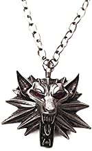 Eiffy Wild Hunt Wolf Medallion Pendant Necklace for Women Man Unisex Red Crystal Eye Animal Necklace (Red)