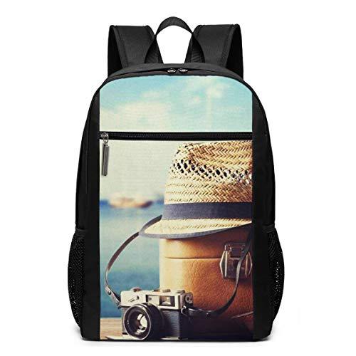 Schulrucksack Koffer Hipster Hut Fotokamera, Schultaschen Teenager Rucksack Schultasche Schulrucksäcke Backpack für Damen Herren Junge Mädchen 15,6 Zoll Notebook