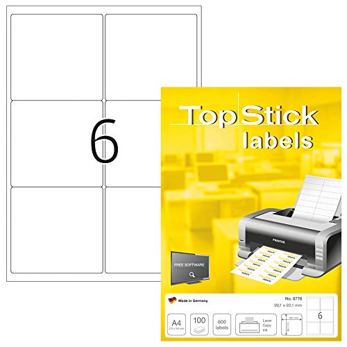 TopStick Etichette per Pacchi e Spedizioni, 99,1 x 93,1 mm, Etichette Adesive A4 per Stampante, 6 Etichette per Foglio, Bianco