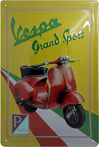 Targa in metallo di alta qualità con immagine di Vespa Roller Grand Sport, targa pubblicitaria in stile retrò, 30 x 20 cm