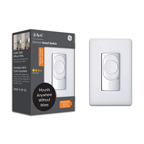 C by GE Wire-Free Smart Dimmer Switch, Bluetooth Dimmer Light Switch, Battery Powered Smart Switch, Peel-and-Stick Removable, White, 1-Pack