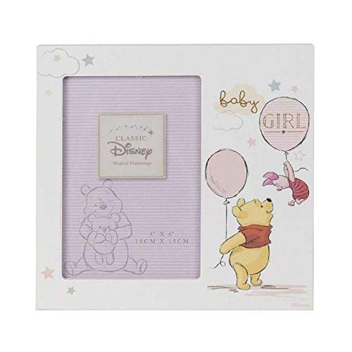 Disney Magical Beginnings Cadre en panneau MDF 10,2 x 15,2 cm – Winnie l'Ourson bébé fille