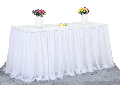 CO-AVE 6FT White Tulle Table Skirt High-end Gold Brim 3 Layer Round or Rectangle Tables Mesh Tutu Table Skirting Fluffy and Elegant for Baby Show,Birthday Party,Wedding Decoration.(L72in, H30in)