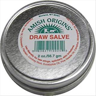 Amish Origins All Natural Draw Salve 2 oz Tin; Great for Splinters, Sores, Bee Stings, Foreign Objects Embedded in the Skin