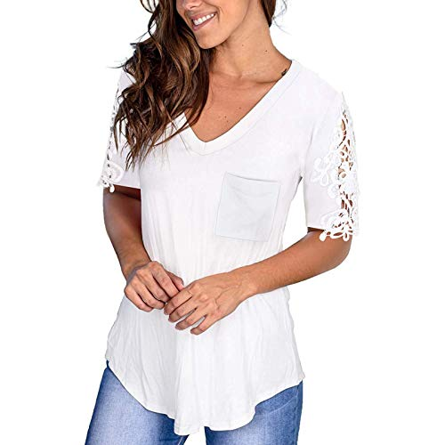 Womens Summer Tops, Women's Lace Short Sleeve Tops Casual Blouse with Lace Summer V-Neck T-Shirt Pullover Shirts White