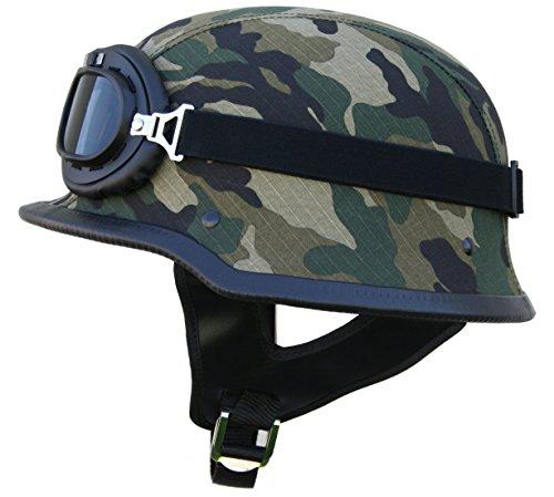 ATO-Helme Oldtimer Motorradhelm mit Fliegerbrille Wehrmachtshelm (L 59/60cm, Camouflage)