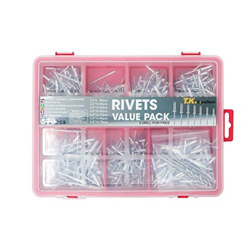 T.K. Excellent Small Head Aluminum Steel Mandrel Pop Rivets Assortment Kit,570Pcs +Free Drill 3 Pcs