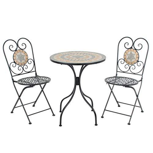 Azuma Bistro Set Mosaic Tile Round Table 2 Chairs Metal Garden Furniture Patio Balcony - Rhodes