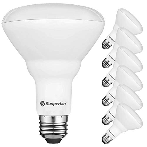Sunperian 6 Pack BR30 LED Bulb, 8.5W=65W, 3500K Natural White, 800 Lumens, Dimmable Flood Light Bulbs for Recessed Cans, Enclosed Fixture Rated, Damp Rated, UL Listed, E26 Standard Base