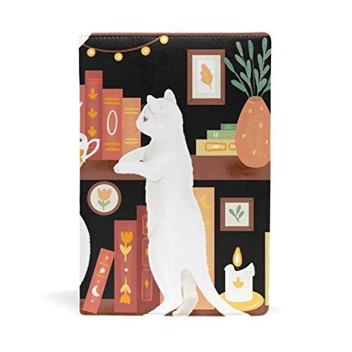 SoreSore(ソレソレ) ブックカバー a5 ねこ 猫柄 可愛い かわいい 白猫 アニマル 皮革 レザー 文庫本 ノートカバー メモ 手帳カバー 革 A5 かわいい おしゃれ