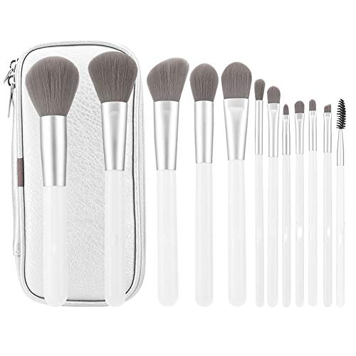 FSGD Make-up borstel set, 12 bamboe houtskool haar make-up tools oogschaduw borstel blozen borstel losse poeder borstel