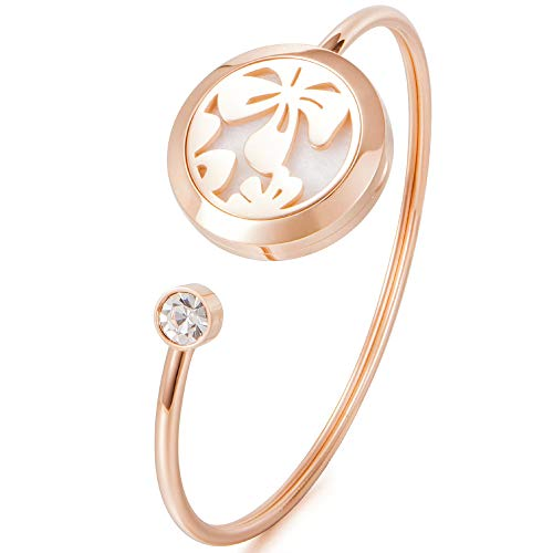 Coolnut Essential Oil Diffuser Bracelet for Women and Girls,Rose Gold Aromatherapy Bracelets with Gorgeous Jewelry Box,Best Gift for Loved One(Four-leaf Clover)