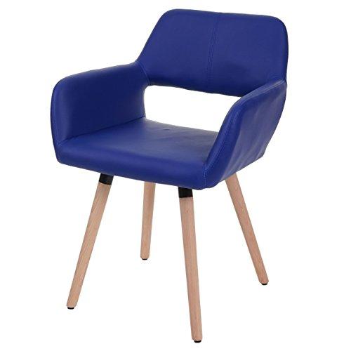 Chaise de Salle à Manger HWC-A50 II, Fauteuil, Design rétro des années 50 - Similicuir, Bleu