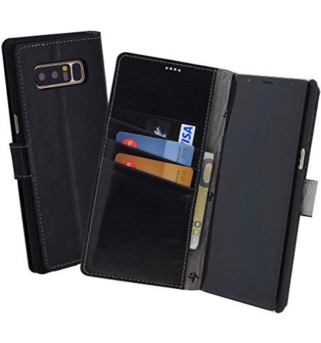 Suncase Book-Style (Slim-Fit) für Samsung Galaxy Note 8 Ledertasche Leder Tasche Handytasche Schutzhülle Hülle Hülle (mit Standfunktion & Kartenfach) schwarz