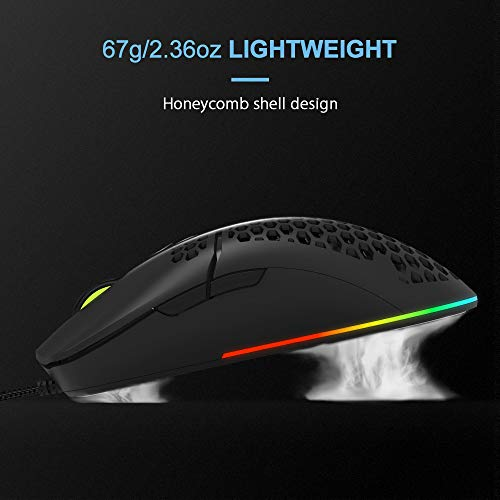 DELUX 67G (2.36oz) Wired Lightweight Gaming Mouse with 7200DPI, RGB Backlit and 7 Programmable Buttons, Honeycomb Shell Gaming Optical Mouse for PC Laptop Computer(M700BU(A725)(Black))
