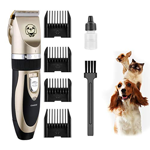 SeeKool Kit Tosatrice Professionale per Cani Tagliacapelli Tosatore Elettrico 4 Pettine Testina Regolabile---Tagliacapelli Per Le Piccole/Medie/Grandi Cani Gatti E Altri Animali Domestici