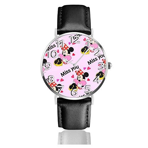 Miss You Minnie Reloj Unisex de Cuarzo analógico de fácil Lectura de 38 mm con Correa de Cuero