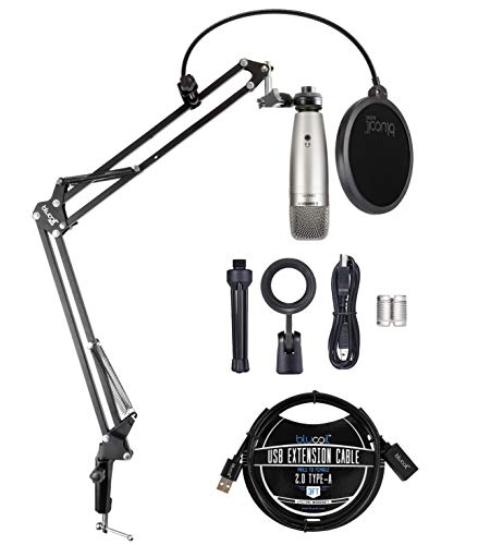 Samson C01U Pro USB Condenser Microphone with Zero Latency Monitoring for Windows, Mac, iPad Bundle with Blucoil 3-FT USB 2.0 Type-A Extension Cable, and Boom Arm Plus Pop Filter