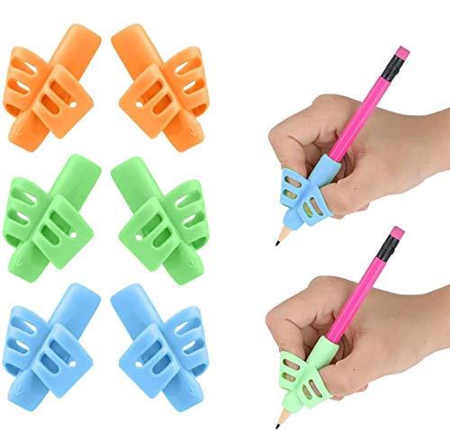 Dsaren 6 Piezas Agarres para Lápices Silicona Adaptador de Lapiz Pencil Grip Corregir Postura Soporte Lapiz para Niños Adultos Diestros y Zurdos