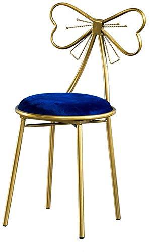 Make-up Eitelkeit Stuhl, Hocker Krawatte schmetterlingsförmige Rückenlehne Jintie Sessel Sessel kleine Metallstühle Polstermöbel,Dark Blue
