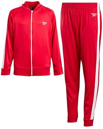 Reebok Boys 2-Piece Athletic Tricot Tracksuit Set with Zip Up Jacket and Jog Pants, Size 6, Red/White Trim
