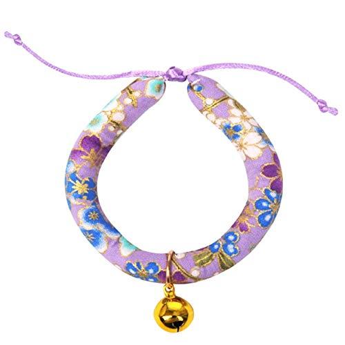 Homeilteds Cartoon Pet Cat Bell Cuello para Los Gatos Suministros Mascotas Productos Mascotas para Accesorios Collar Strong (Color : Bell Purple Flower, Size : L Neck 30 53cm)