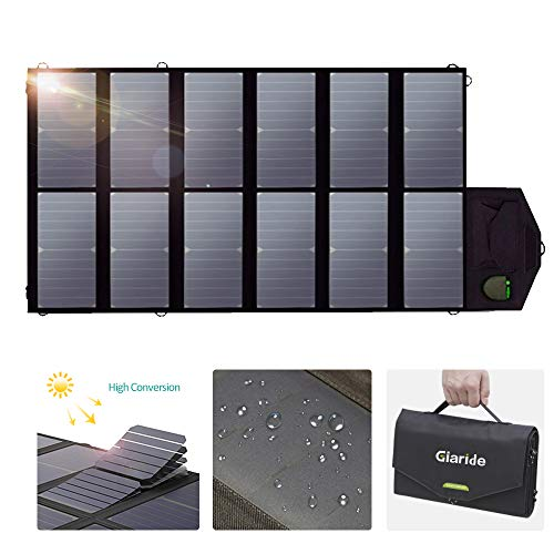 GIARIDE Foldable Solar Charger Sunpower Solar Panel 18V 80W Outdoor Portable Charger Camping Travel Charger Dual USB+18V DC Output for 12V Car Battery, Laptop, Tablet, iPhone, Galaxy, iPad, Camping,